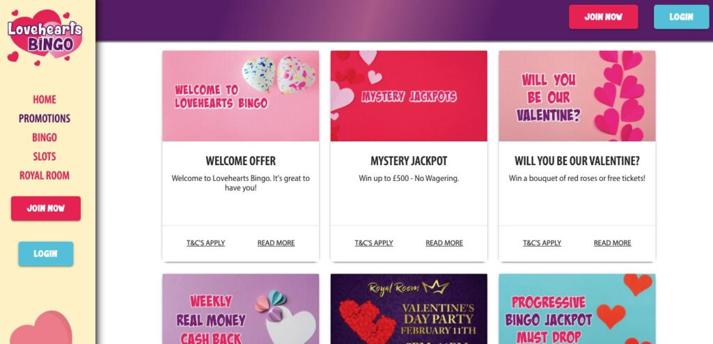 lovehearts bingo promotions