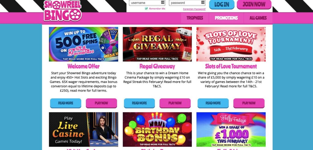 show reel bingo promotions