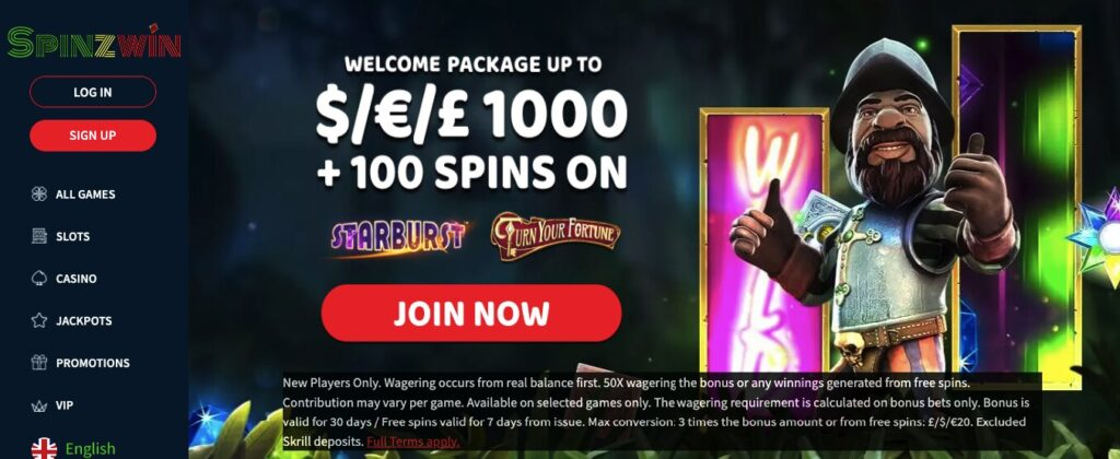 spinzwin welcome
